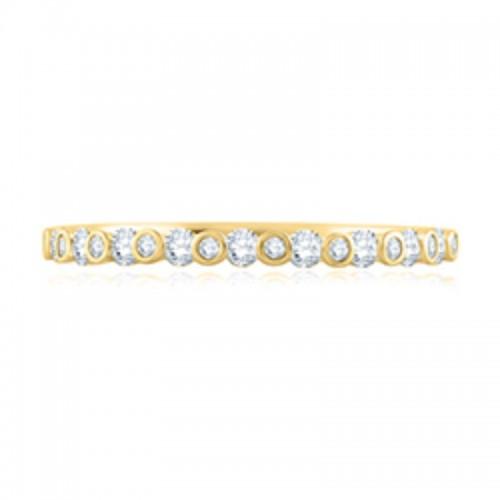 A.JAFFE Alternating Bezel Set Diamond Stackable Ring