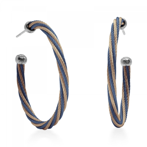 Blueberry & Carnation Twisted Cable 1.5″ Hoop Earrings by Alor