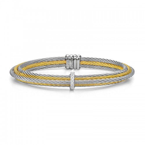 Alor Yellow and Grey Cable Tiered Stackable Bracelet