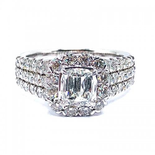 L'Amour Cushion Crisscut Diamond Engagement Ring