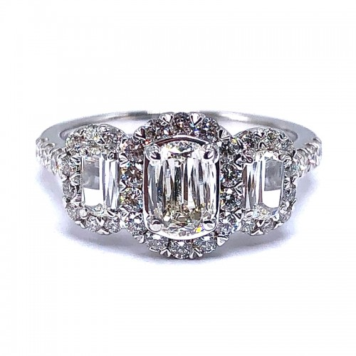L'Amour Oval Crisscut Three Diamond Engagement Ring