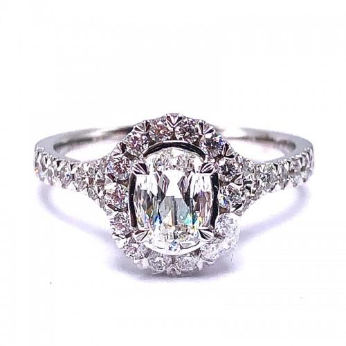 L'Amour Oval Crisscut Diamond Engagement Ring