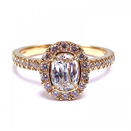 Oval Crisscut Diamond Engagement Ring