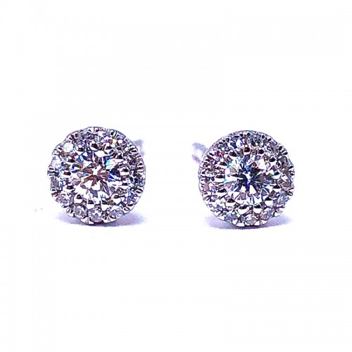 Multi Diamond Earrings & Pave Diamond Disc Pendant Set by SHY Creation