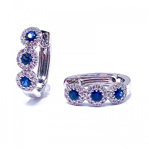 SHY Creation Sapphire & Diamond Halo Huggie Earrings