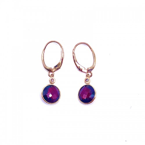 Round Garnet Earrings With Diamond Accents by Olivia B