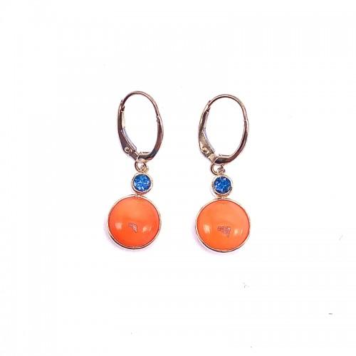 Round Carnelian & London Topaz Earrings by Olivia B