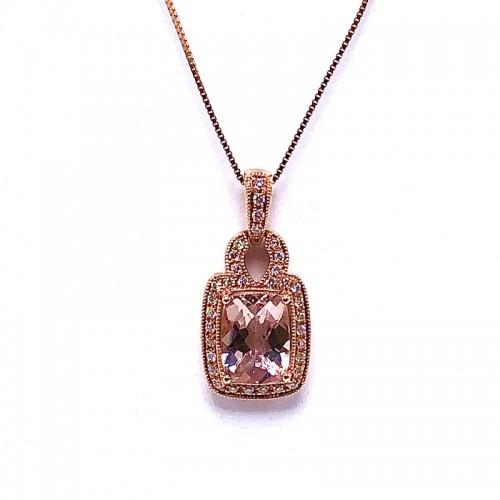 Rectangle Cushion Morganite and Diamond Pendant