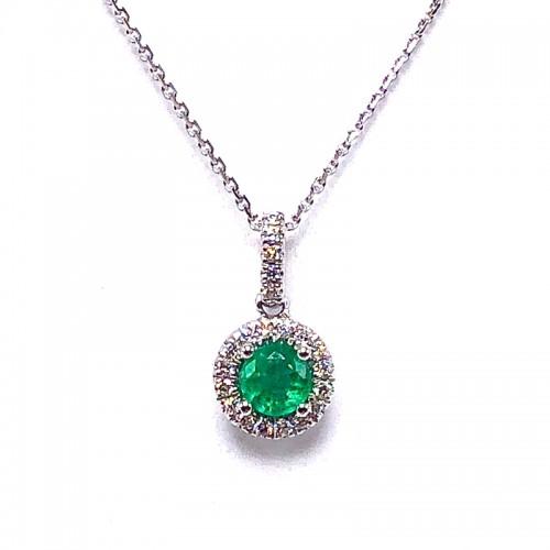 Round Emerald & Diamond Pendant