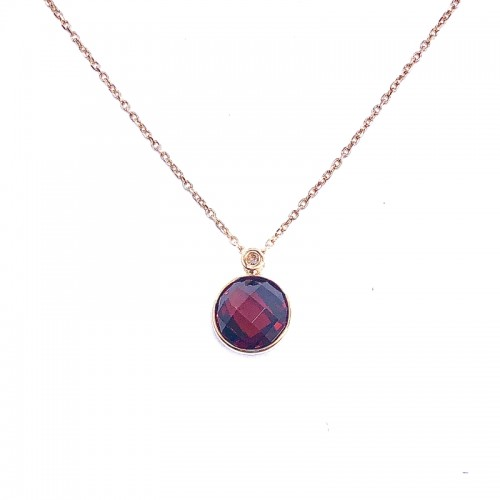 Garnet Pendant With Diamond Accent by Olivia B