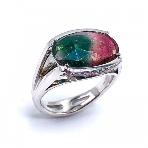 Simon G. Watermelon Tourmaline  & Diamond Ring