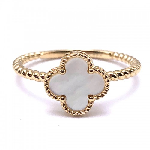 Mother Of Pearl Clover Ring In 14K Yellow Gold