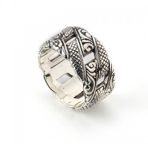 Sterling Silver Balinese Link Design Ring