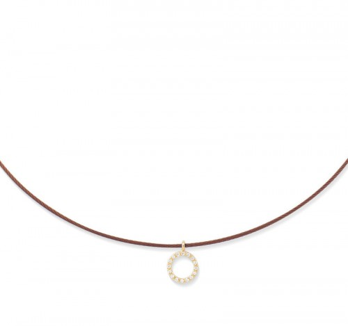 Burgundy Cable Halo Necklace by Alor