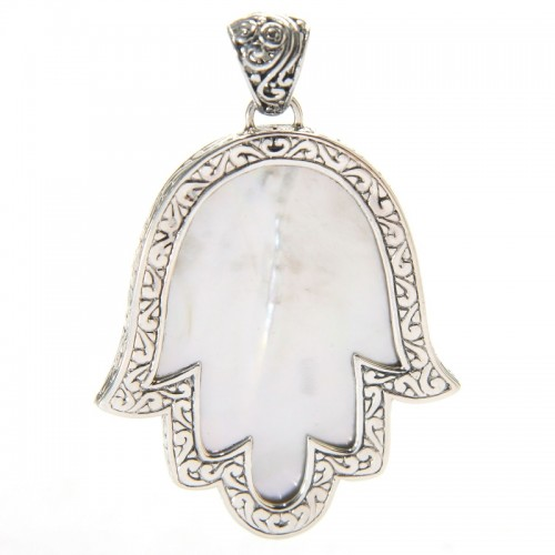 Sterling Silver Mother-of-Pearl Hamsa Pendant