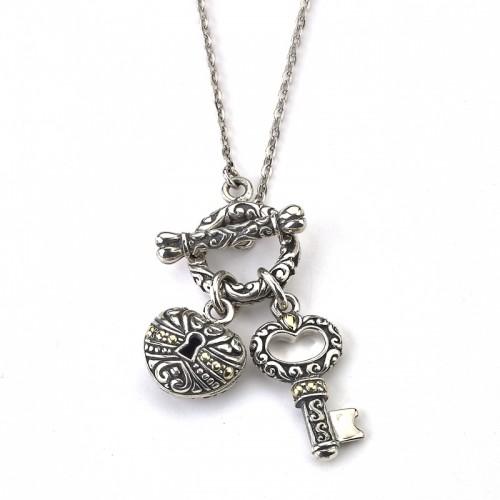 Sterling Silver Key Lock Necklace