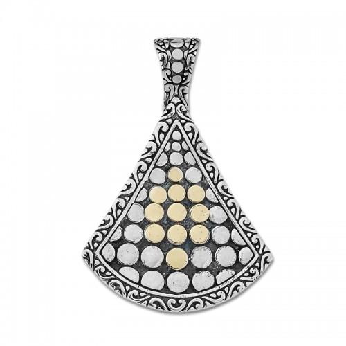 Sterling Silver Beaded Design Pendant by Samuel B.