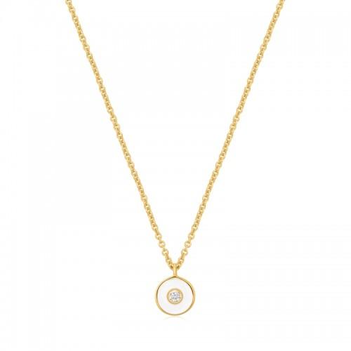 Ania Haie Yellow  White Enamel Disc Necklace