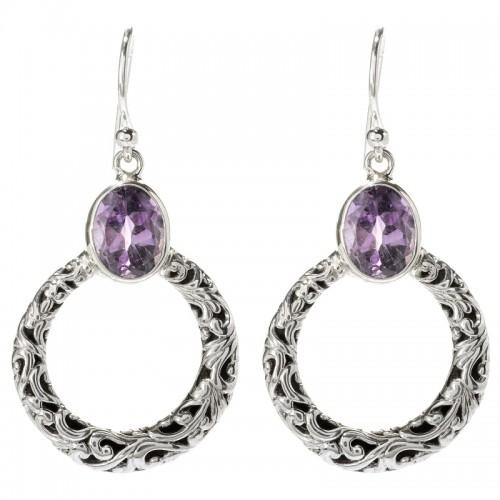Sterling Silver Amethyst Circle Dangle Earrings by Samuel B.