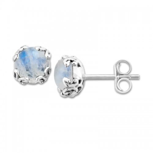 Sterling Silver Moonstone Earrings by Samuel B.