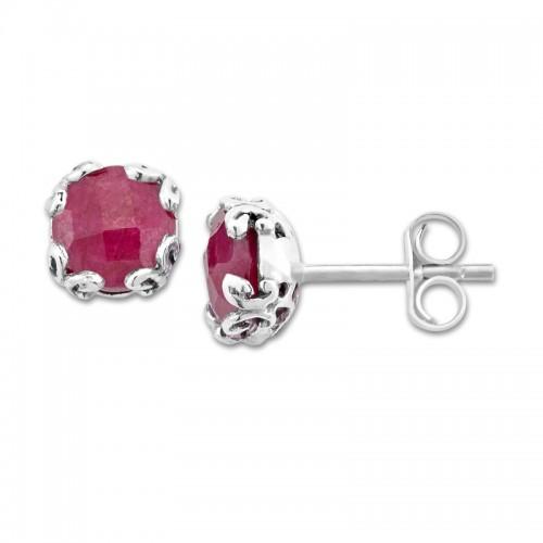 Sterling Silver Ruby Earrings  by Samuel B.