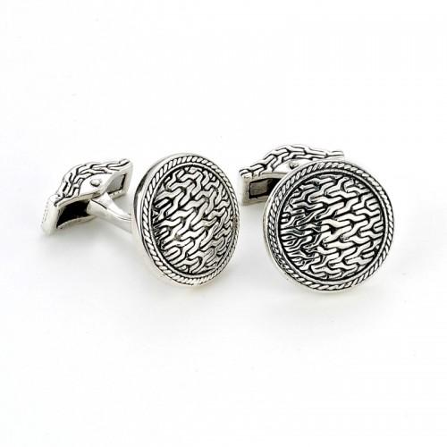 Sterling Silver Tulang Naga Cuff Links by Samuel B.