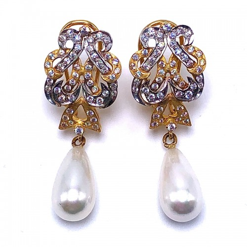Estate Diamond and Pearl Drop Earrings
