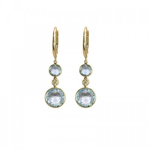 Round Sky Blue Topaz Earrings by Olivia B