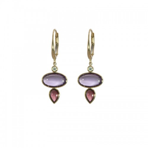 Amethyst and Rhodolite  Earrings by Olivia B