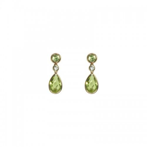 Pear & Round Peridot Earrings by Olivia B