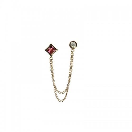 Double Post Single Diamond & Princess Cut Pink Tourmaline Earring by Olivia B