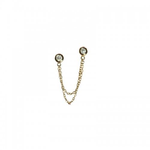 Double Post Single Diamond Earring by Olivia B