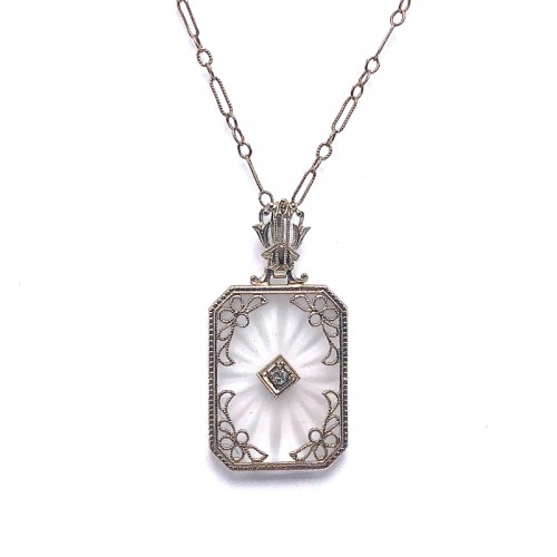 Estate Crystal & Diamond Pendant