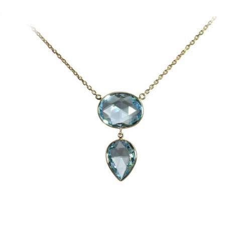 Oval & Pear Sky Blue Topaz Necklace by Olivia B