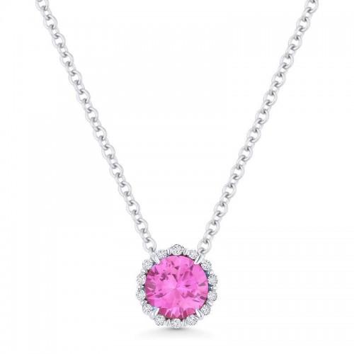 Pink Corundum & Diamond Pendant