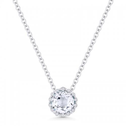 White Topaz & Diamond Pendant