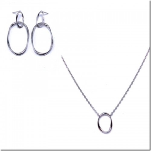Sterling Silver Swirl Design Necklace and Earring Set by Ania Haie
