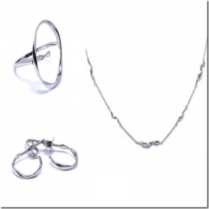 Sterling Silver Twist Design Ring, Earring, Necklace Set by Ania Haie