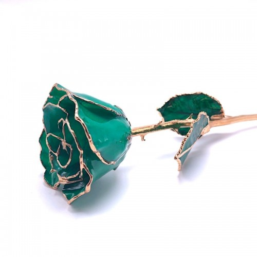 24K Gold Dipped Emerald Rose
