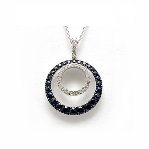Sapphire & Diamond Circle Pendant