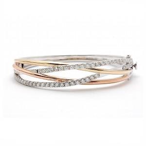 Tri Color Diamond Bangle Bracelet