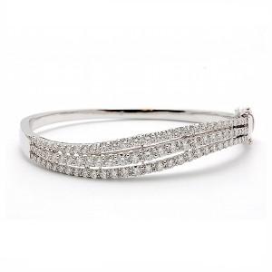 Three Row Diamond Bangle Bracelet