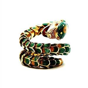 Estate Enamel Snake Ring