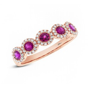 SHY Creation Ladies Diamond and Ruby Ring
