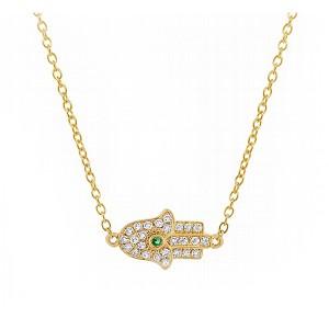 Diamond Hamsa Necklace with Emerald