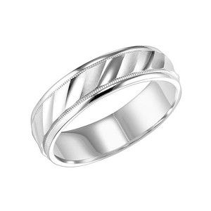 Men's Gold Diagonal Line Detailed Wedding Band