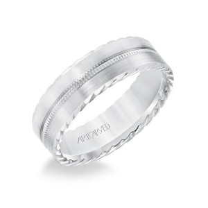 Men's Gold Milgrain Inlay Wedding Band