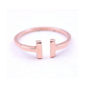 Ladies T Bar Fashion Ring in 14K Rose Gold