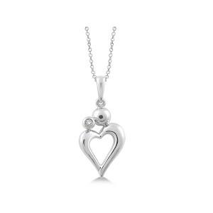 Sterling Silver Mother Child Diamond Heart Pendant