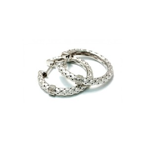 Sterling Silver Hoop Earring with Diamond Accents